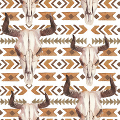 Watercolor ethnic boho seamless pattern of bull cow skull, horns & tribe ornament on white background, native american decor print element, tribal bohemian navajo, Indian, Peru, Aztec wrapping