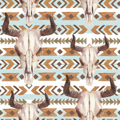 Watercolor ethnic boho seamless pattern of bull cow skull, horns & tribe ornament on blue background, native american decor print element, tribal bohemian navajo, Indian, Peru, Aztec wrapping
