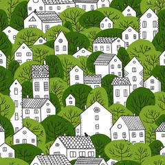 trees and houses seamless pattern summer green colors