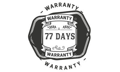 77 days black warranty icon stamp