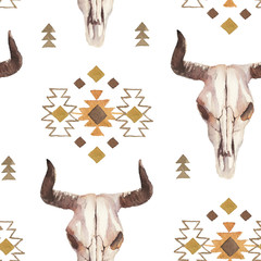 Watercolor ethnic boho seamless pattern of bull cow skull, horns & tribe ornament on bright background, native american decor print element, tribal bohemian navajo, Indian, Peru, Aztec wrapping