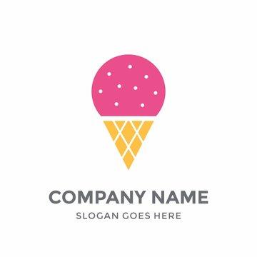 Ice Cream Cold Stawberry Cone Fresh Wafer Taste Gelato Logo Design Vector Template Concept Icon Silhouette
