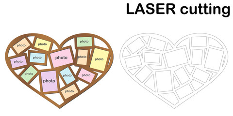 Heart shaped frame for photos for laser cutting. Collage of photo frames. Template laser cutting machine for wood and metal.