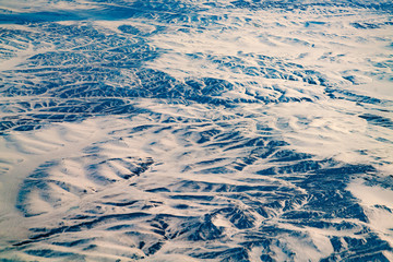 Aerial view black volcano mountain with snow covered, natural landscape background