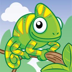 cartoon lizard on branch, cute vector
