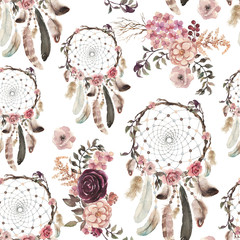 Seamless watercolor ethnic boho floral pattern - dream catchers and flowers, Native American tribe decoration print element, tribal navajo isolated illustration bohemian ornament, Indian, Peru, Aztec.