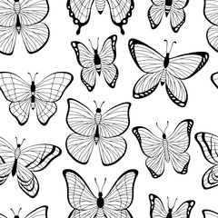Butterfly graphic black white seamless pattern background sketch illustration vector