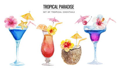 Watercolor tropical illustration - bright cocktails & coconut with flowers, straw and umbrella for wedding stationary, greetings, wallpapers, fashion, backgrounds, textures, DIY, wrappers, postcards.