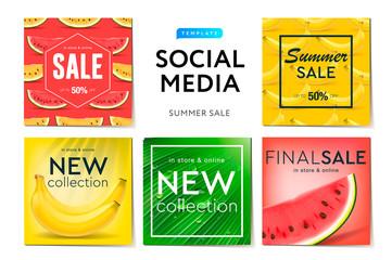 Social media templates Summer sale, use for brands and blogger, modern promotion web banner for social media mobile apps, vector illustration.