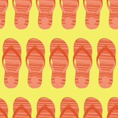 Flip-flops orange on yellow seamless vector pattern.