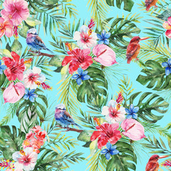 Green palm leaves, painted bunting bird, colorful flowers on the blue background. Watercolor hand painted seamless pattern. Tropical illustration. Jungle foliage.