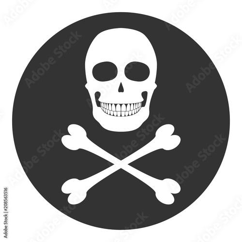 Skull And Crossbones In Circle Black Spot Symbol Vector Icon