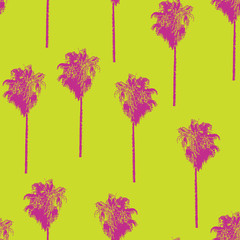 Palm trees retro-style pink on a lime green background. Seamless vector pattern.