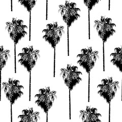 Palm trees seamless vector pattern. Retro-inspired. Black on a white background.