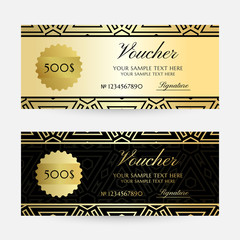 Illustration with golden colored geometric texture. Gift vouchers template collection.