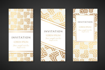 Illustration with abstract stripped triangle elements. Invitation templates. Cover design with ornaments.