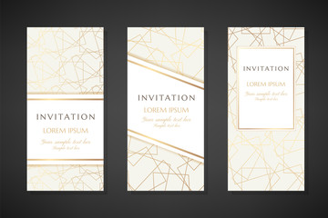 Golden line art textured illustration. Invitation templates. Cover design with ornaments.