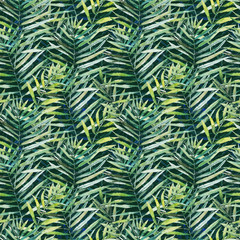 Printed roller blinds Tropical Leaves Green tropical palm & fern leaves on black background. Watercolor hand painted seamless pattern. Tropical illustration. Jungle foliage.
