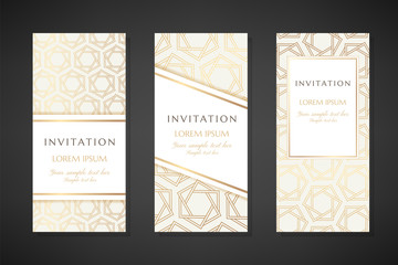 Golden hexagon stars. Invitation templates. Cover design with ornaments.