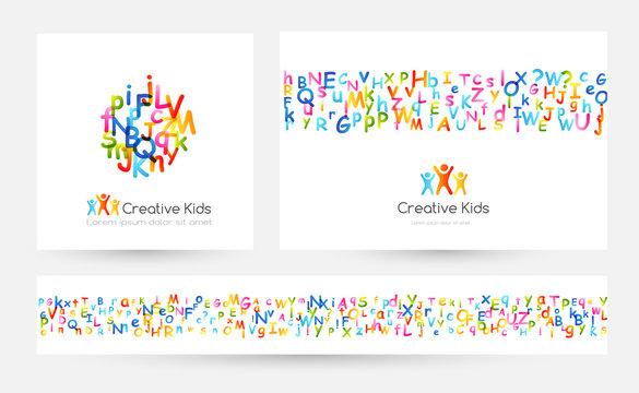 Kids creative education concept. Rainbow alphabet confetti. Design collection. Vector illustration