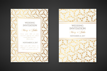Illustration with dotted texture. Wedding invitation templates.