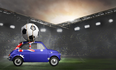 Australia flag on car delivering soccer or football ball at stadium