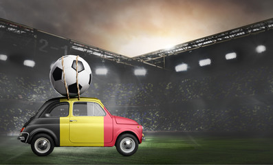 Belgium flag on car delivering soccer or football ball at stadium