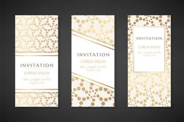 Illustration with dotted texture. Invitation templates. Cover design with ornaments.