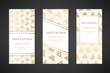 Illustration with stripped triangles. Invitation templates. Cover design with ornaments.