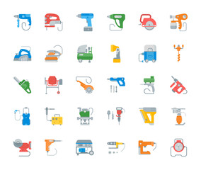 Set Vector Illustration of Electric Tools.