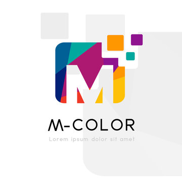 Rainbow abstract logo with M letter. Vector illustration