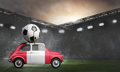 Peru flag on car delivering soccer or football ball at stadium