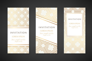 Golden concentric square texture. Invitation templates. Cover design with ornaments.