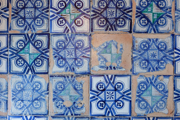 Old blue tiles at the Vatican