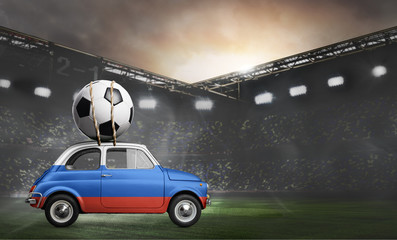 Russia flag on car delivering soccer or football ball at stadium