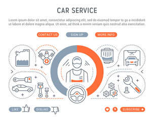 Website Banner and Landing Page of Car Service.