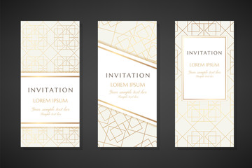 Illustration with gold lin art texture. Invitation templates. Cover design with ornaments.