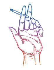 Human hand holding burning, smoking cigarette. Drug consumption, nicotine use clip art