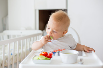 Sweet baby child, boy, eating mashed food and fresh vegetables, sitting in high baby chair
