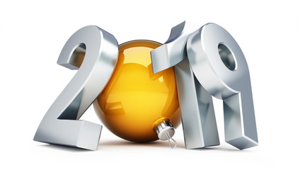 2019 new year on a white background 3D illustration, 3D renderin