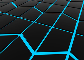3d rendering. Abstract modern black trapezoid shape pattern tile surrounded by blue light wall background.