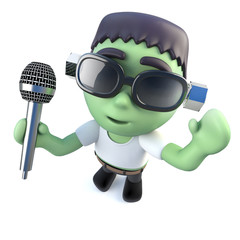 3d Funny cartoon frankenstein monster singing into a microphone