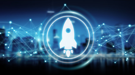 Startup rocket digital interface 3D rendering