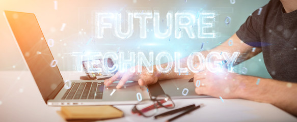 Graphic designer using future technology text interface 3D rendering