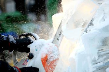 LONDON, UK - JANUARY 13 : Ice Sculpting Festival 2012