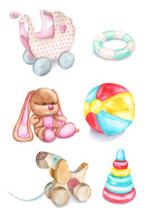 Watercolor children's toys. A stroller, a rattle, a plush bunny, a ball, a dog, a pyramid. Toys for girls. Children illustration can be used for baby shower card, birthday card or for newborn poster