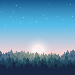 Pine forest landscape at sunrise with sun and stars.