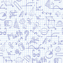 Seamless pattern on the theme of the school, of education and of the subject mathematics, the blue hand-drawn graphics, formulas, and icons on on the clean writing-book sheet in a cage