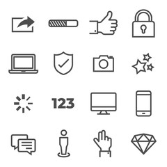 Pictogram vector icon set. Included the icons as sharing, loading, like, thumb up, lock, desktop, laptop, protect, camera, star, progress bar, number, feedback, message, mobile, diamond and more