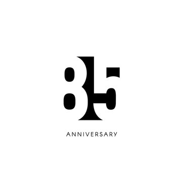 Eighty five anniversary, minimalistic logo. Eighty-fifth years, 85th jubilee, greeting card. Birthday invitation. 85 year sign. Black negative space vector illustration on white background.